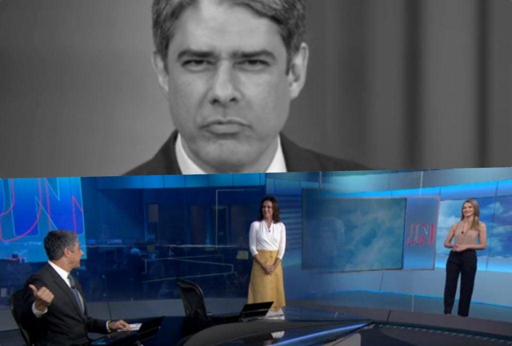 William Bonner do Jornal Nacional fez questão de interromper sua colega da previsão do tempo (Foto reprodução)