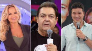 Eliana, Faustão e Rodrigo Faro na audiência deste domingo - Foto: Montagem