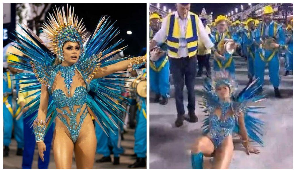 Lexa cai na avenida (Foto: Globo