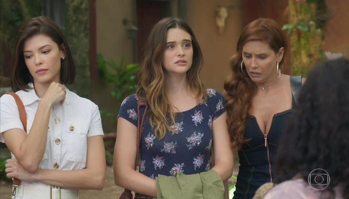 Kyra (Vitória Strada), Luna (Juliana Paiva) e Alexia (Deborah Secco) em Salve-se Quem Puder (Foto: Reprodução/Globo)
