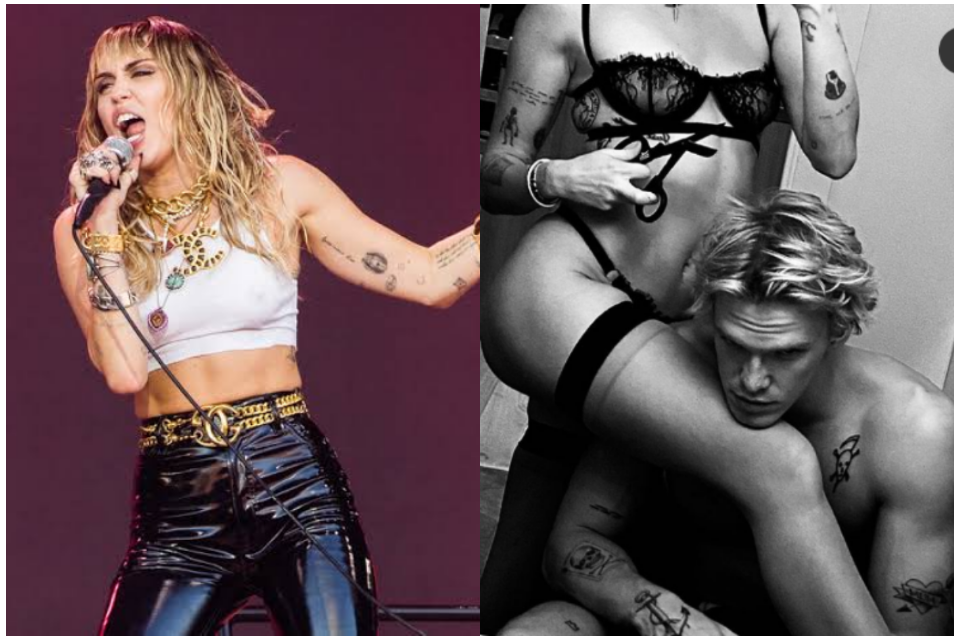 Miley Cyrus surge de calcinha e sutiã ao lado do namorado sem camisa (Foto: Reprodução)