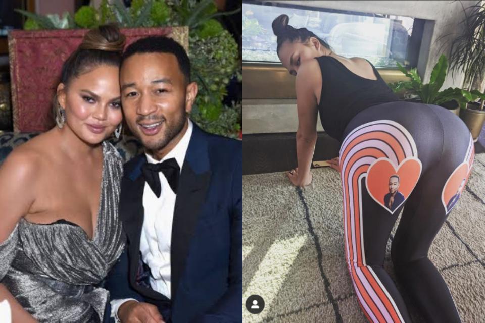 Chrissy Teigen exibe calça inusitada que homenageia o marido, John Legend e leva web ao delírio (Foto: Reprodução)
