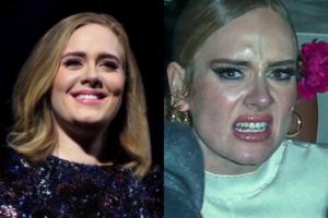 Adele surta e mostra dedo do meio para paparazzi (Foto: Reprodução)