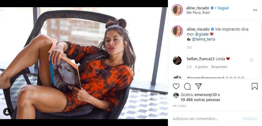 Aline Riscado elevou à temperatura com seus cliques no Instagram (Foto: Reprodução)