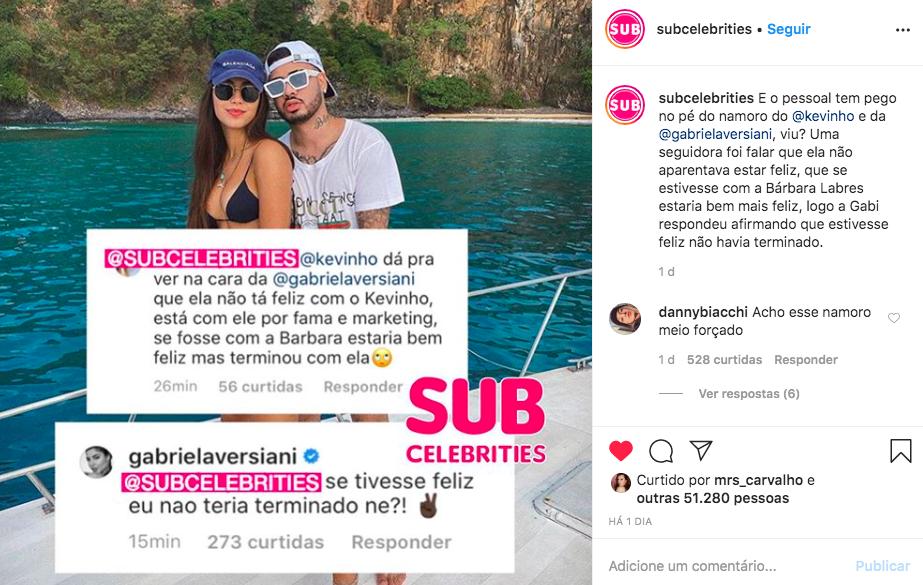 Gabriela Versiani responde comentário de internauta que falou sobre a sua felicidade com o famoso cantor e funkeiro, Kevinho (Foto: Reprodução/Instagram)