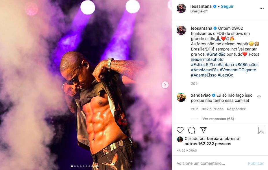 O famoso cantor de axé deixou os seus seguidores de queixo caído ao expor toda a sua boa forma na internet