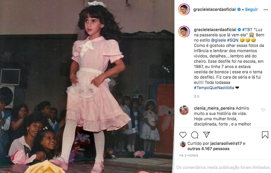 Graciela Lacerda relembra momento especial de quando tinha 7 anos (Foto/Reprodução/Instagram)