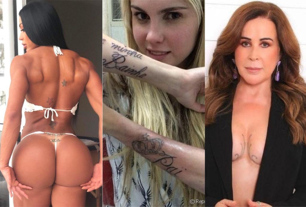 Zilu, Gracyanne Barbosa, MC Guime, Angelina Jolie, famosos com as tatuagens mais estranhas (Foto: montagem TV Foco)