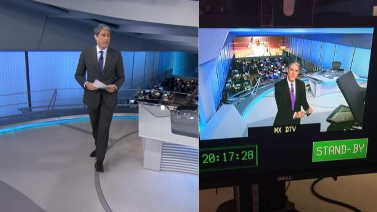 William Bonner nos bastidores do Jornal Nacional (Foto: Divulgação/TV Globo/Montagem TV Foco)
