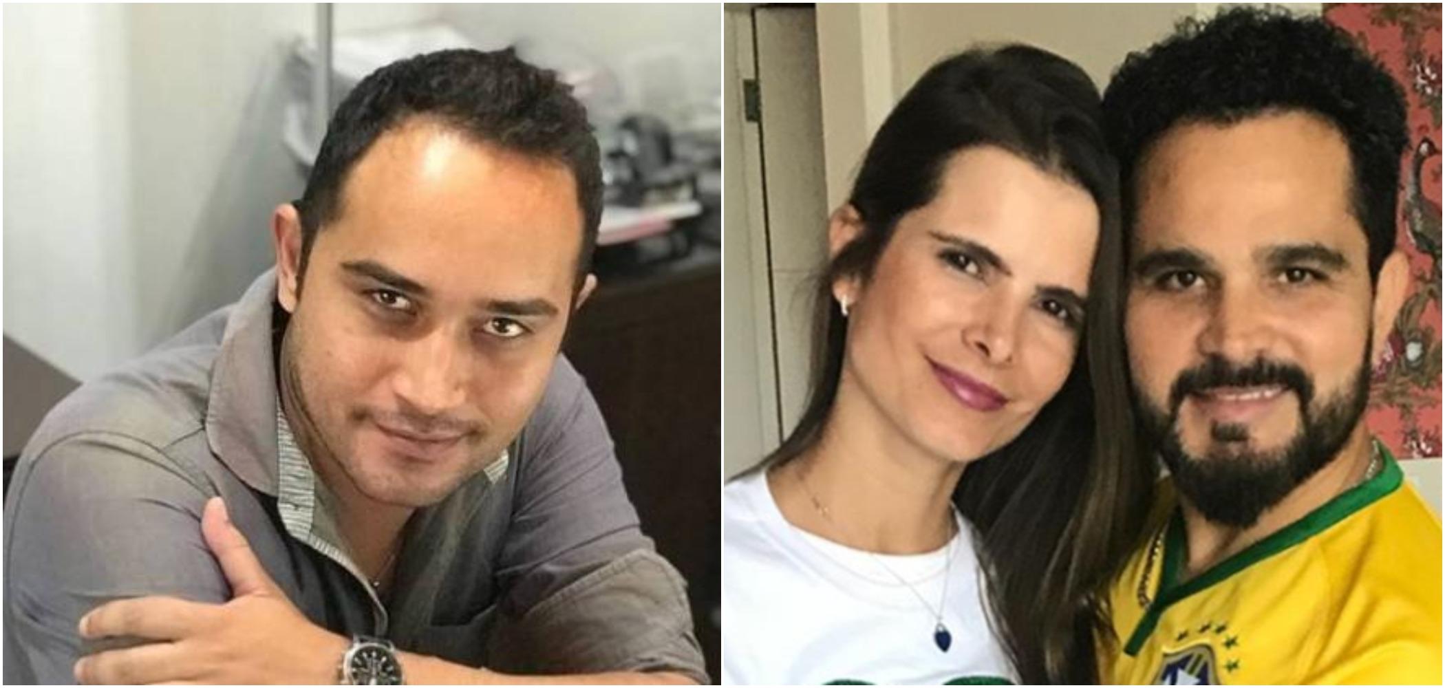 Wesley Camargo, Luciano Camargo e atual mulher do sertanejo, Flávia Camargo (Reprodução)