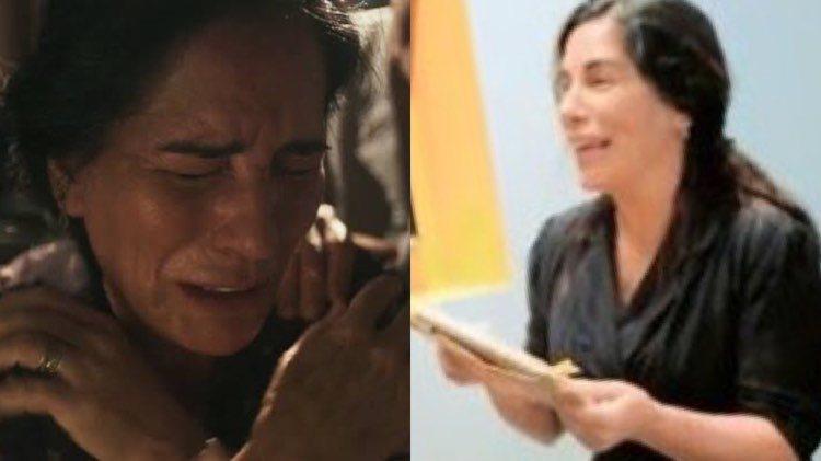 Gloria Pires surge com o rosto inchado de tanto chorar nas cenas fortes de Éramos Seis (Montagem: TV Foco)