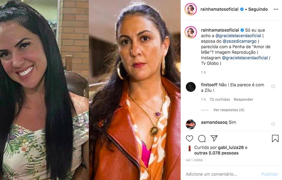 A esposa do famoso cantor sertanejo, Zezé, Graciela Lacerda foi acusada de ser parecida com a polêmica Penha da novela das 21h, Amor de Mãe, da Globo (Foto: Reprodução/Instagram)
