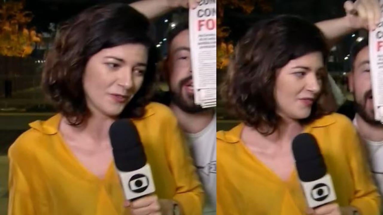 Laura Cassano teve seu trabalho atrapalhado ao vivo (Foto: Reprodução/TV Globo)