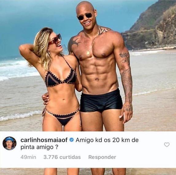 O famoso baiano sem pau? A ex-dançarina do Faustão, Lore Impprota admite que mexeu na foto para diminuir o volume de Léo Santana (Foto: Reprodução/Instagram)