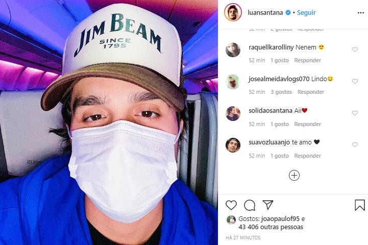 Sertanejo Luan Santana preocupou os fãs ao aparecer usando máscara em foto (Imagem: Reprodução)