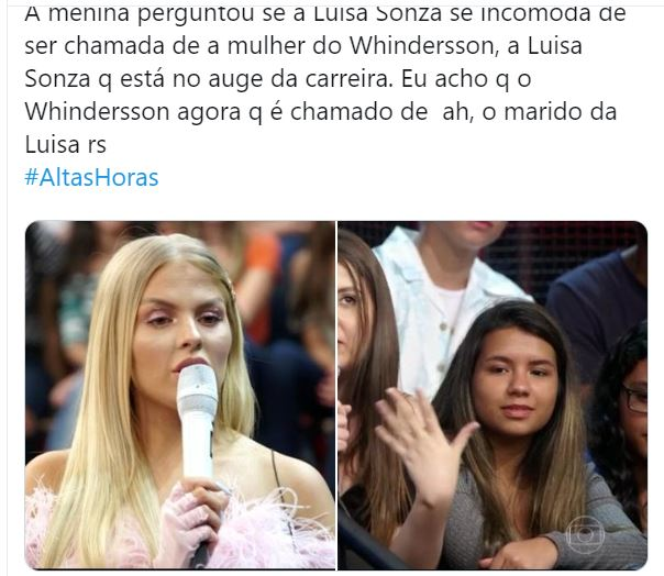 Luísa Sonza arrasa com resposta no Altas Horas sobre Whindersson Nunes (Foto: Reprodução)