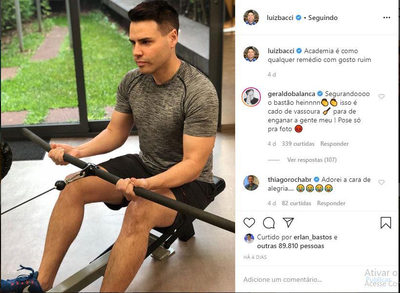 Luiz Bacci expõe rotina na academia e Geraldo Luís Zoa