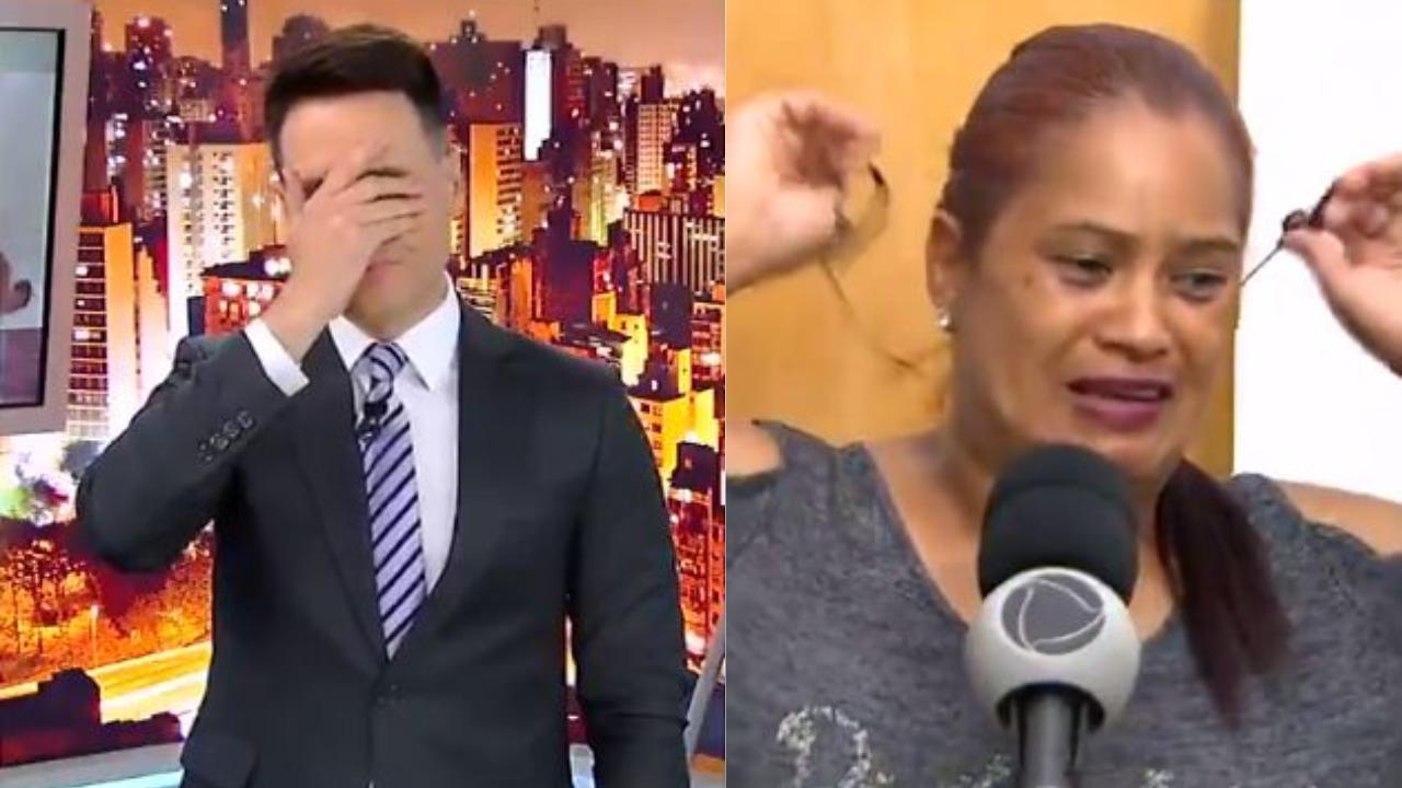 Mulher descobre o assassinato da filha durante o Cidade Alerta, de Luiz Bacci, ao vivo (Foto: Reprodução/Record/Montagem TV Foco)