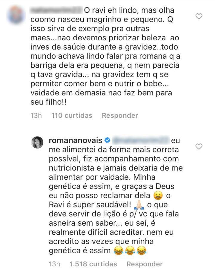 Romana Novais rebateu critica de seguidora (Foto: Reprodução)