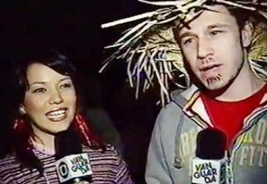 Tiago e Geovanna na TV Vanguarda (Foto: Reprodução)