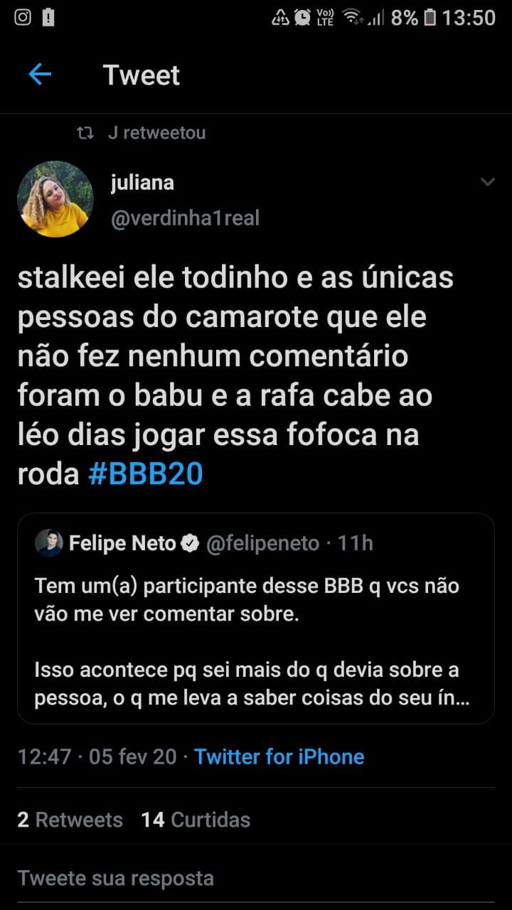 Internauta faz suposição sobre participantes do Big Brother Brasil que Felipe Neto mencionou. Foto: Reprodução