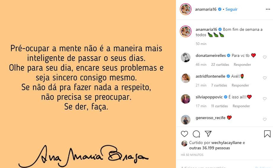 Ana Maria Braga mandou recado para os fãs