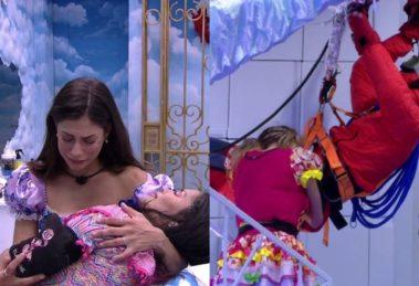 BBB20: Gabi chora e se declara para boneco e Flayslane desmaia após beber (Foto: reprodução/Globoplay)
