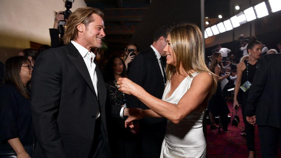 Brad Pitty e Jennifer Aniston no lendário reencontro em premiação (Foto: Emma McIntyre/Getty Images)Brad Pitty e Jennifer Aniston no lendário reencontro em premiação (Foto: Emma McIntyre/Getty Images)