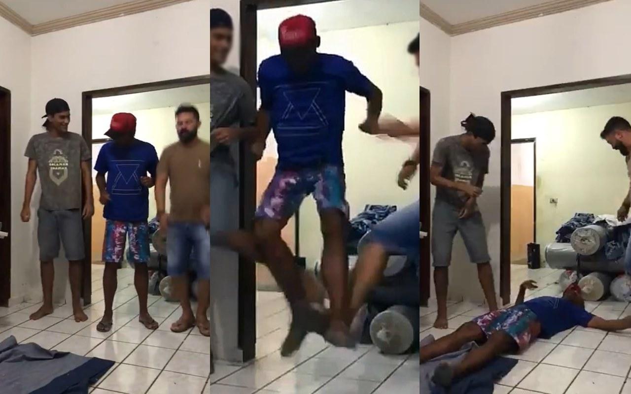 Homem desmaia depois de desafio (Foto: reprodução)