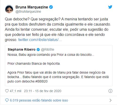 Bruna Marquezine defendeu Manu Gavassi em discussão com Babu (Foto: Reprodução)