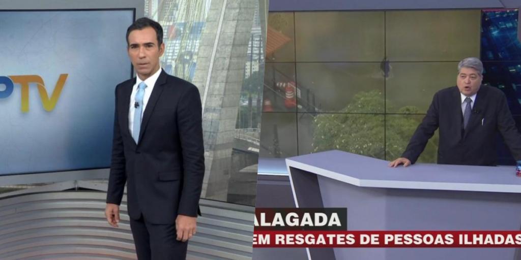 Globo, Record, SBT e Band cobrem enchente (Foto montagem: TV Foco)