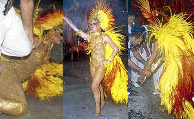 Claudia Raia caem no carnaval (Foto: reprodução)