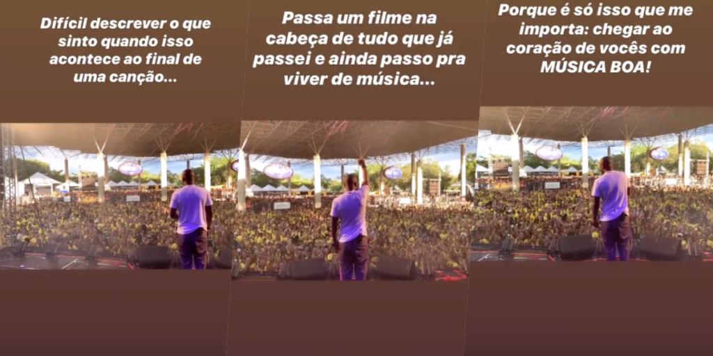 Thiaguinho e Fernanda Souza colocaram um ponto no relacionamento e agora ele surgiu emocionado no palco de um de seus shows (Foto montagem: TV Foco)