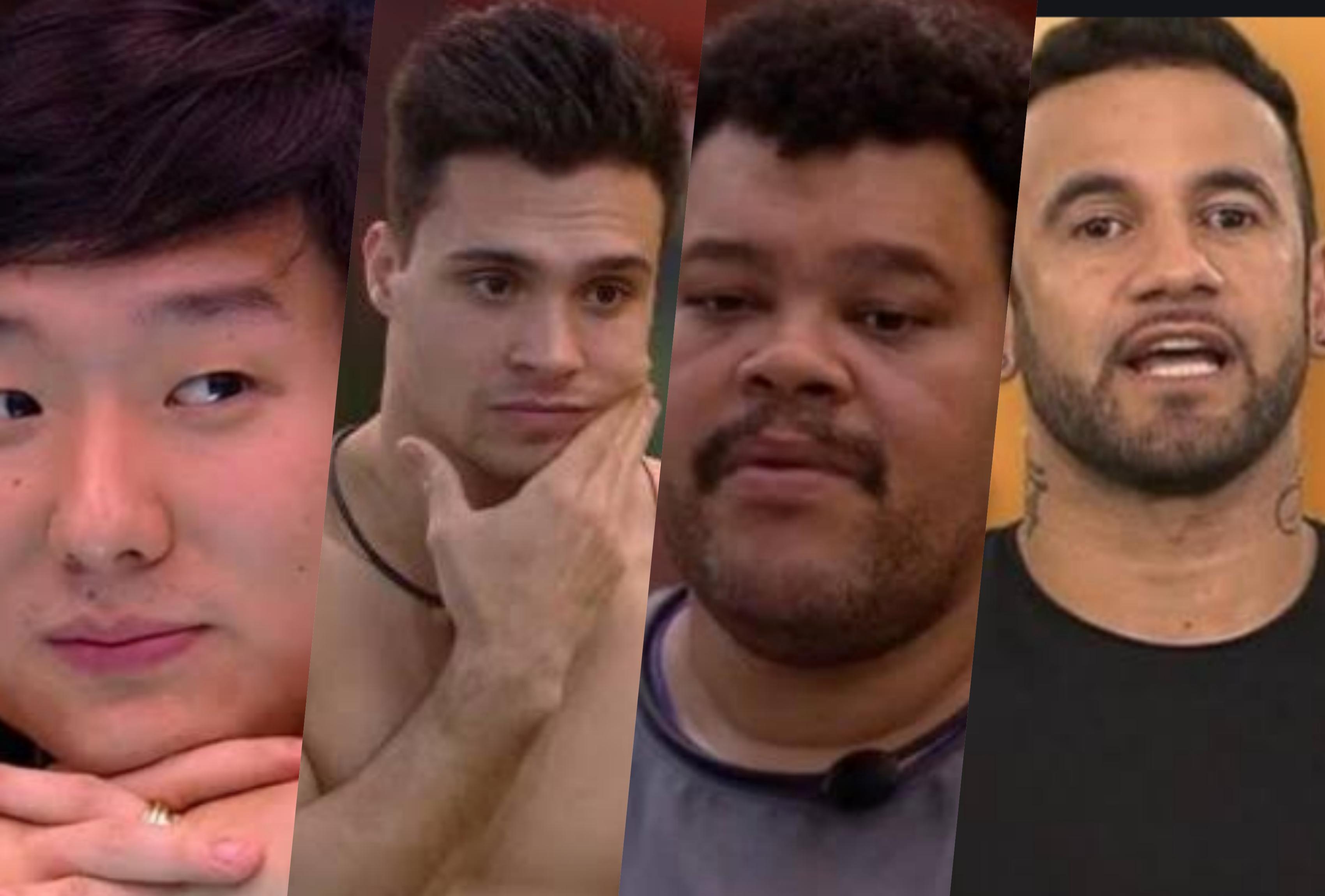 Pyong Lee, Petrix, BPyong Lee, Petrix, Babu e Hadson quem deve ser eliminado?abu e Hadson estão estão no paredão do BBB20 (Foto montagem: TV Foco)