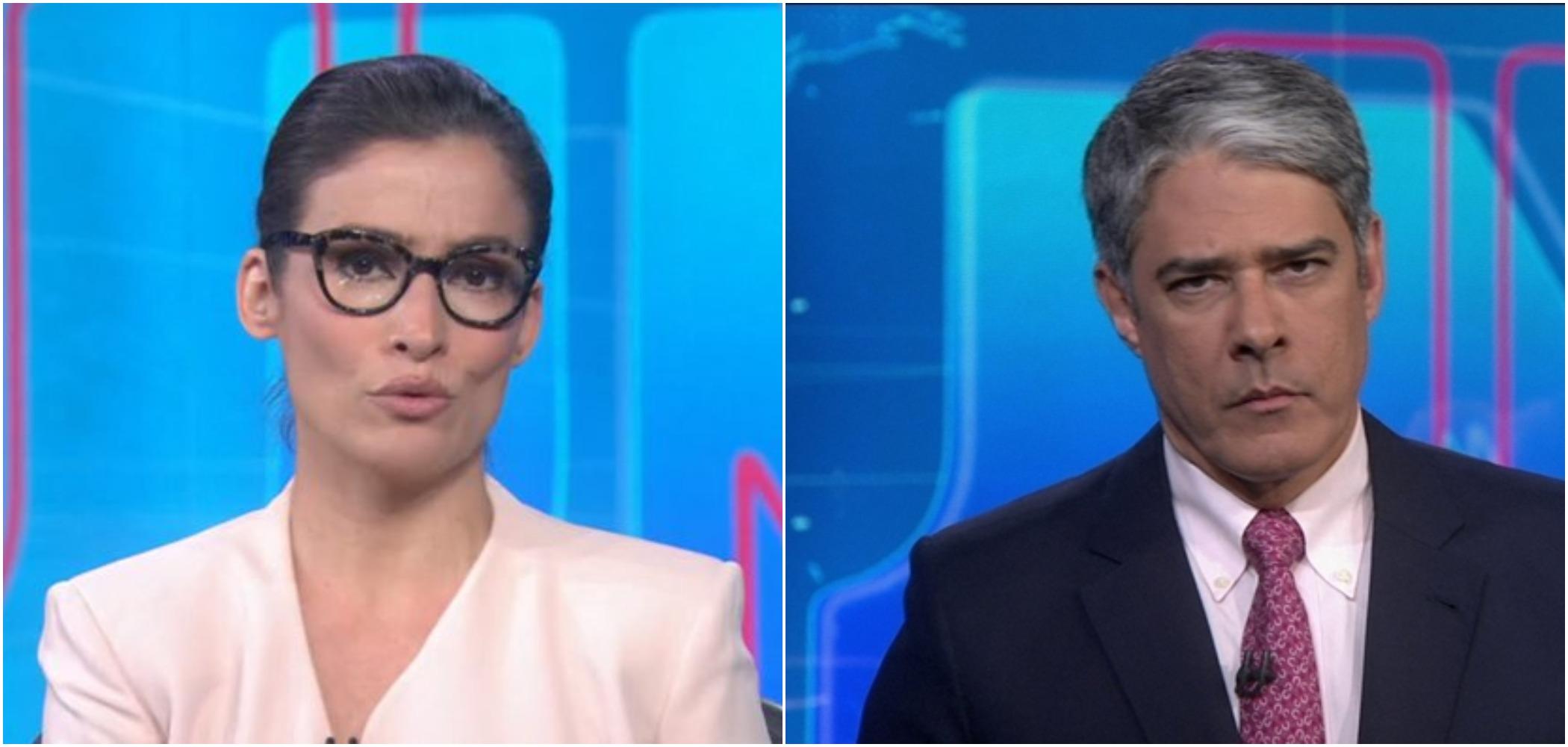 William Bonner e Renata Vasconcellos são os titulares do JN (Reprodução)
