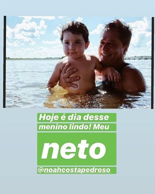 Leonardo com o neto, Noah, filho de Jéssica Costa e Sandro Pedroso (Foto: Reprodução/Instagram)