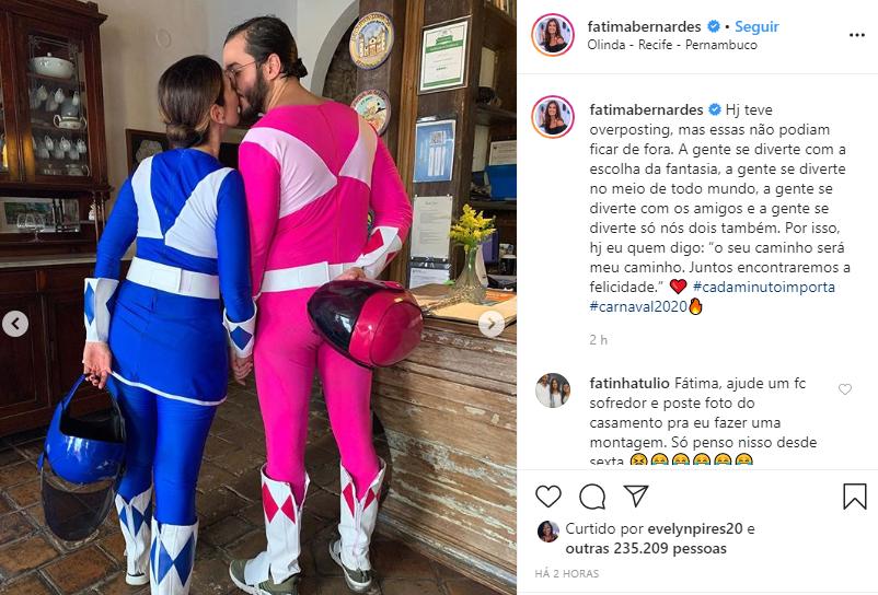 Fátima Bernardes resolveu mostrar aos seus seguidores sua fantasia com Túlio Gadêlha (Foto: Reprodução/ Instagram)