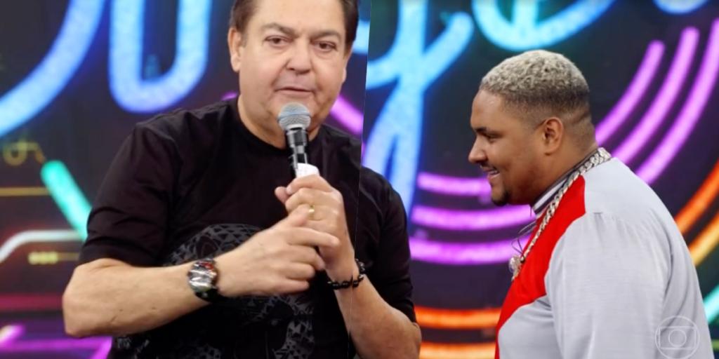 Faustão recebeu o cantor Kevin o Chris ao vivo na Globo (Foto reprodução: TV Globo)