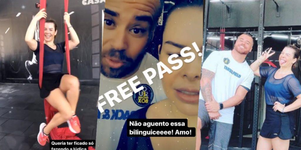 Fernanda Souza surgiu com bonitão na academia e publico logo levantou expectativas (Foto montagem: TV Foco)