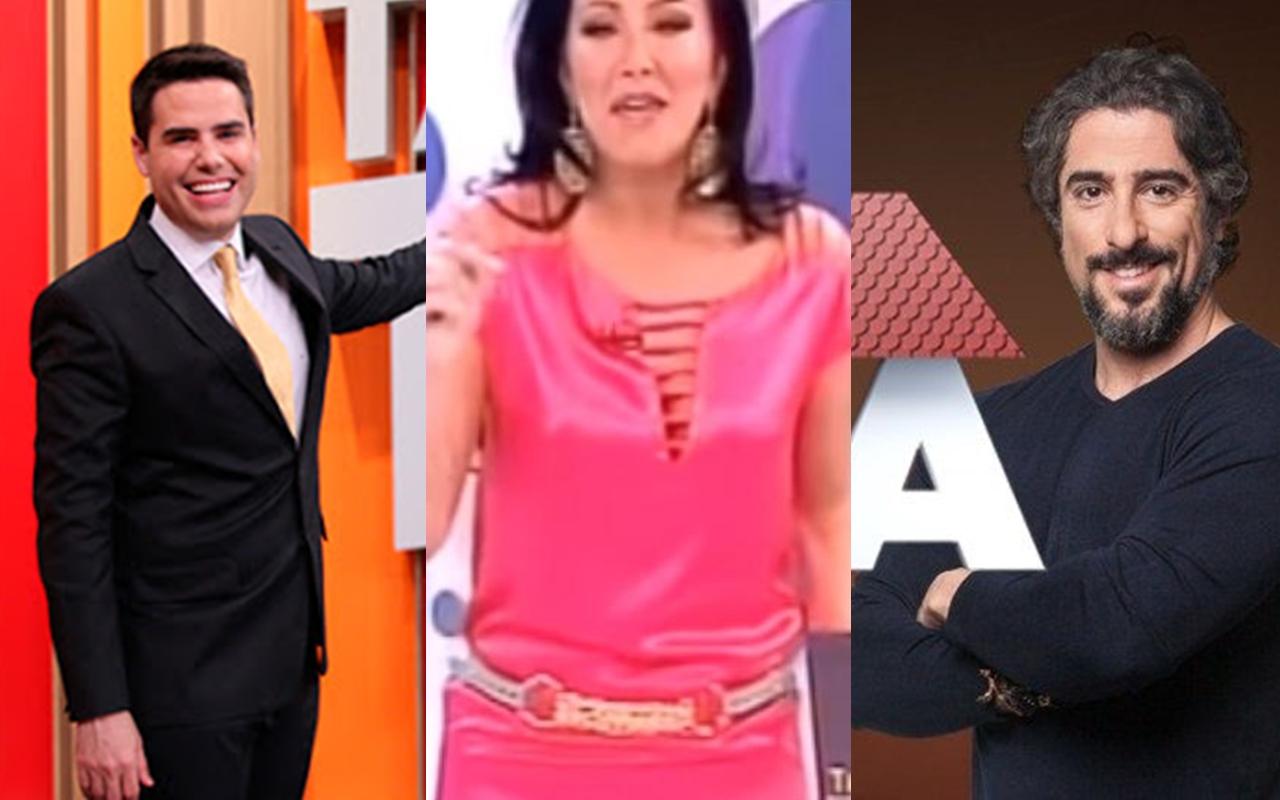 Helen Ganzarolli, Marcos Mion e Luiz Bacci têm programas cancelados devido a baixa audiência (Foto: Montagem Tv Foco)