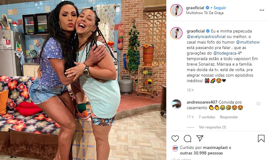 Gracyanne Barbosa se declarou para bonitona (Foto: Reprodução/ Instagram)