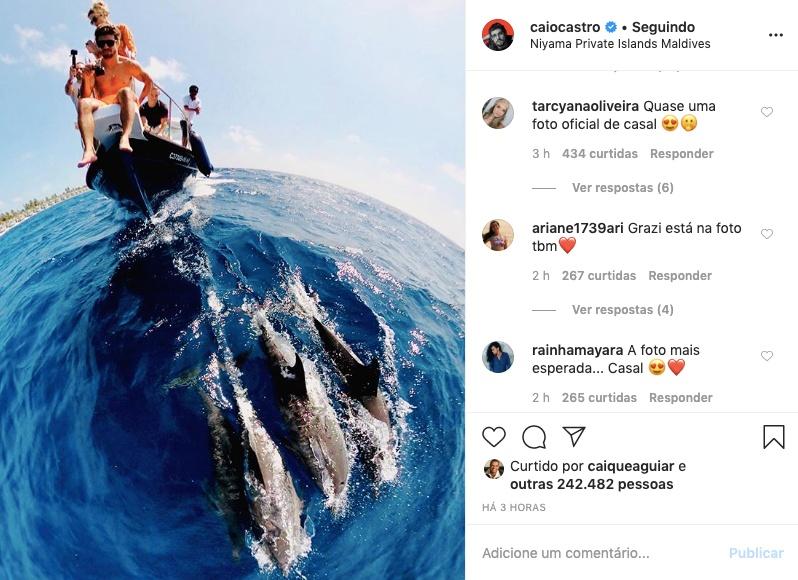 Caio Castro e Grazi Massafera compartilham primeira foto juntos. Foto: Reprodução