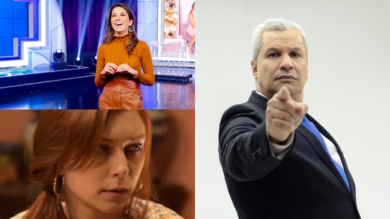 Rebeca Abravanel, Sikêra Jr e a novela Amor Sem Igual foram destaques de audiência (Foto: Reprodução/SBT/RedeTV!/Record/Montagem TV Foco) Globo