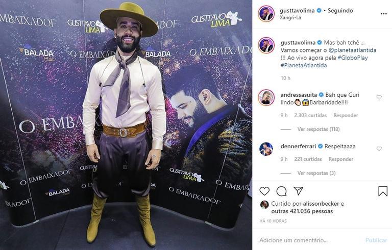 Gusttavo Lima usa look típico gaúcho e é elogiado na web Instagram