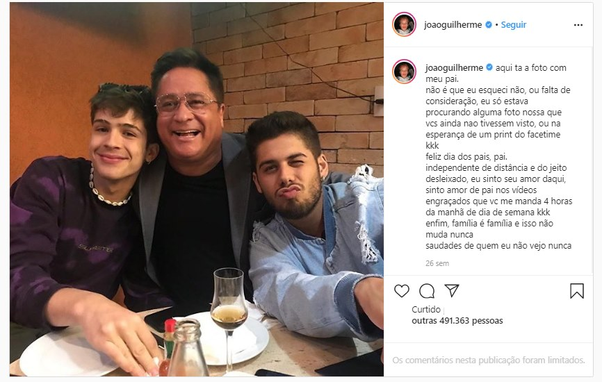 João Guilherme expõe pai Leonardo em post no Instagram (foto: reprodução/Instagram)
