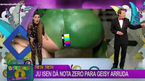 """Ju Isen ficou conhecida como a mulher do """"c# verde"""" depois do carnaval de 2017 (Foto: reprodução/RedeTV!)"""