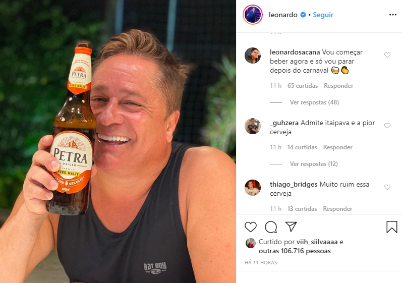 Leonardo trocou Poliana por outra: a cerveja (Foto: Reprodução/ Instagram)