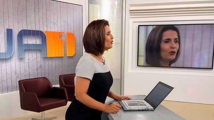 Lilian Lynch apresenta o JA1 na Globo de Goiânia (foto: divulgação/TV Anhanguera)