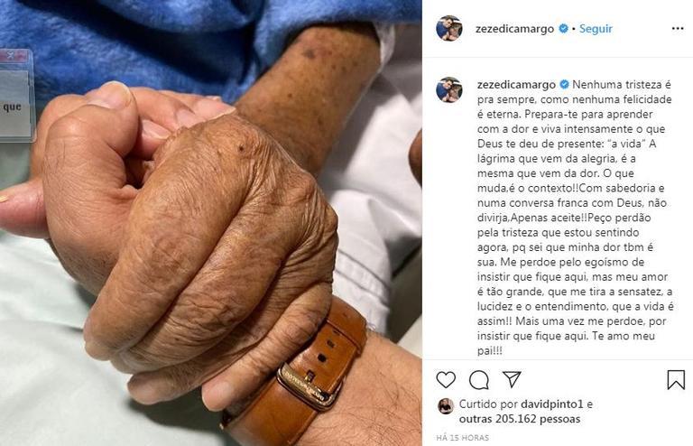 No hospital, Zezé Di Camargo faz post emocionante para o pai (Reprodução/Instagram)