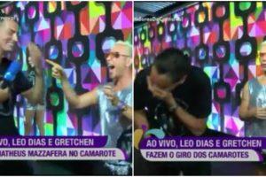 Leo Dias comentou uma gafe ao lado de Gretchen e Matheus Mazzafera ao vivo na RedeTV! (Foto: Reprodução)
